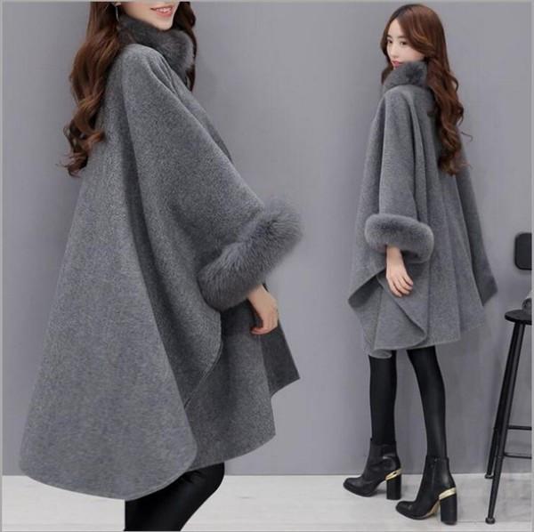 Модерно дамско палто с пух в бежов и сив цвят