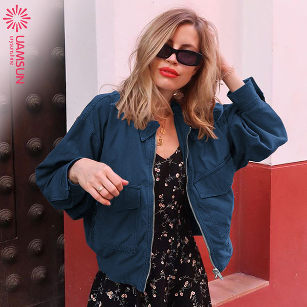 Νέο μοντέρνο γυναικείο κοντό μπουφάν φθινόπωρο με τσέπη και φερμουάρ σε διάφορα χρώματα