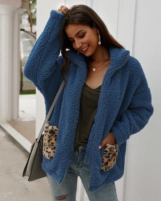 Γυναικείο μπουφάν  με τσέπη και φερμουάρ σε τρία χρώματα