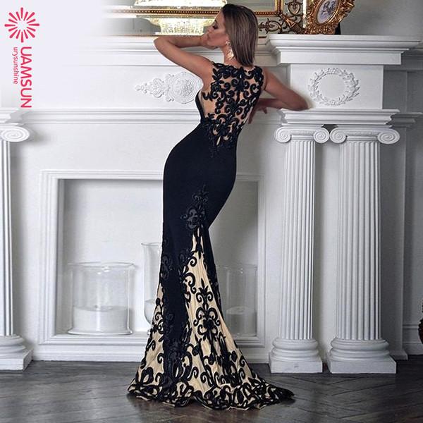 Елегантна дамска дълга рокля с презрамки в черен цвят