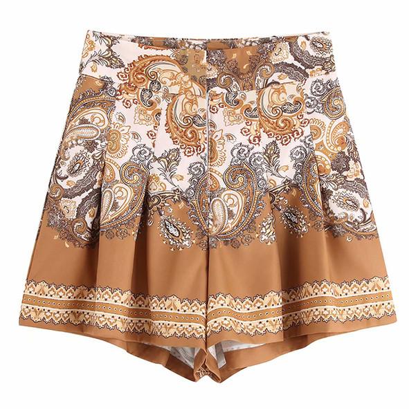 Дамски къси панталони с цветна апликация и висока талия