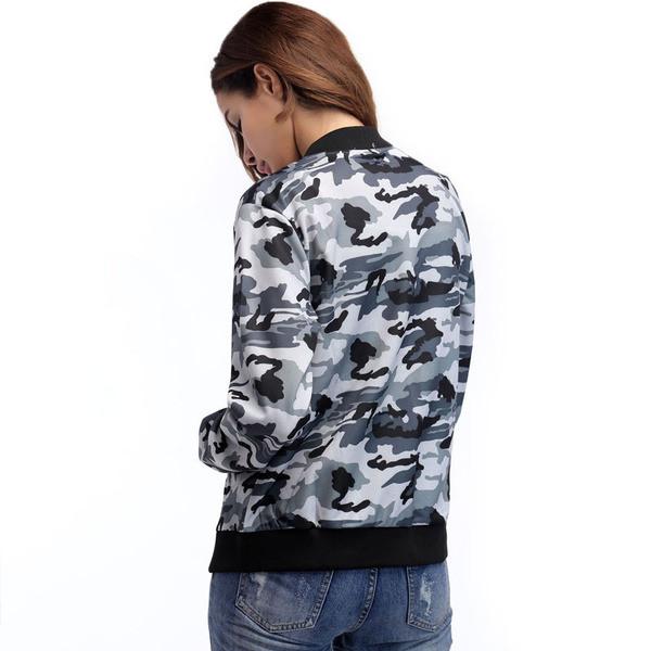 Μοντέρνο γυναικείο καμουφλάζ μπουφάν για το φθινόπωρο με τσέπη σε δύο χρώματα