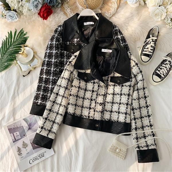 Νέο μοντέλο γυναικείο μπουφάν φθινοπώρου σε μαύρο και άσπρο χρώμα