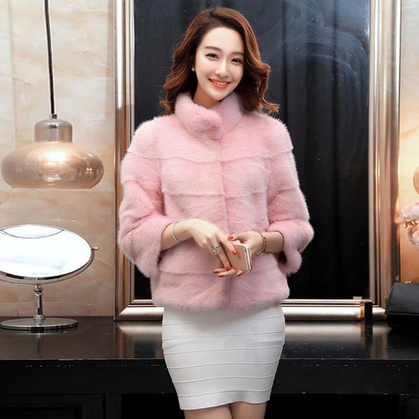 Μοντέρνο γυναικείο μπουφάν με 3/4 μανίκια και ψηλό γιακά σε ροζ χρώμα