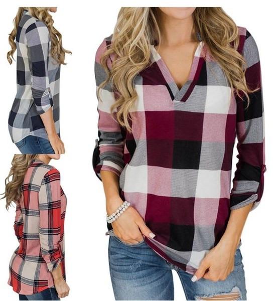 Модерна дамска риза с V-образно деколте в четири цвята