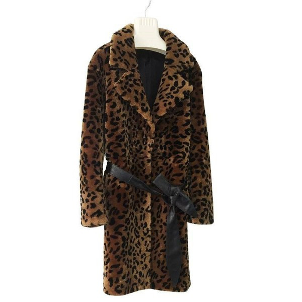 Модерно дамско палто с джоб и животински десен