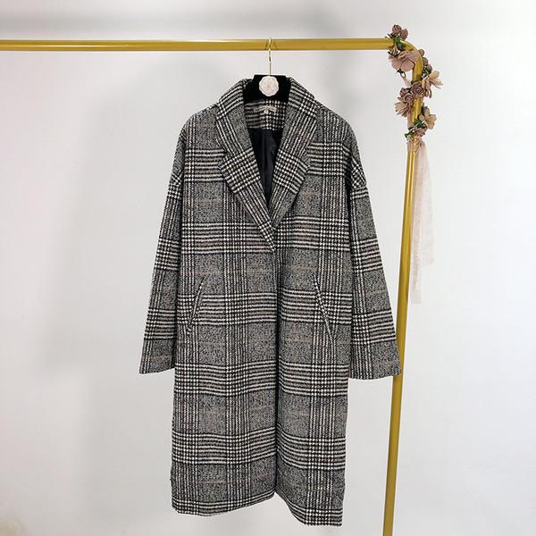 Дамско дълго карирано палто с дълъг ръкав и джобове