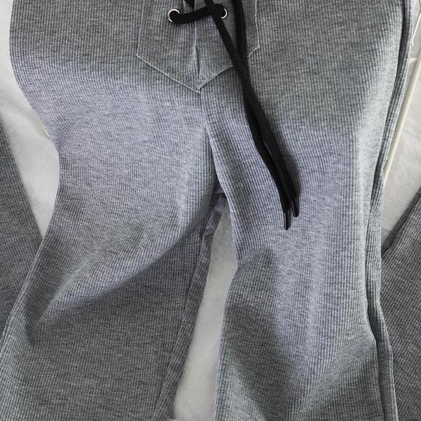 Дамски клин с висока талия и връзки в черен и сив цвят