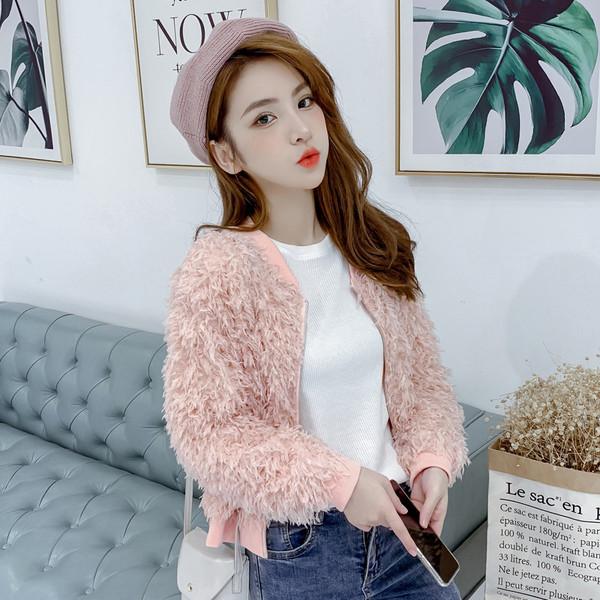 Μοντέρνο γυναικείο μπουφάν με φερμουάρ σε ροζ και μπλε χρώμα