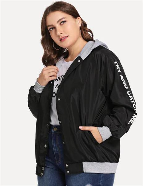Μοντέρνο γυναικείο μπουφάν φθινόπωρονό έως 4ΧL σε μαύρο χρώμα