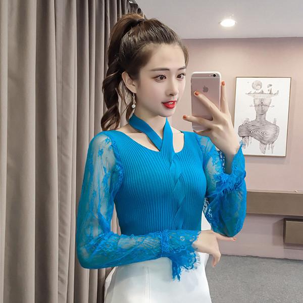 Модрена дамска плетена блуза с дантелени ръкави в няколко цвята