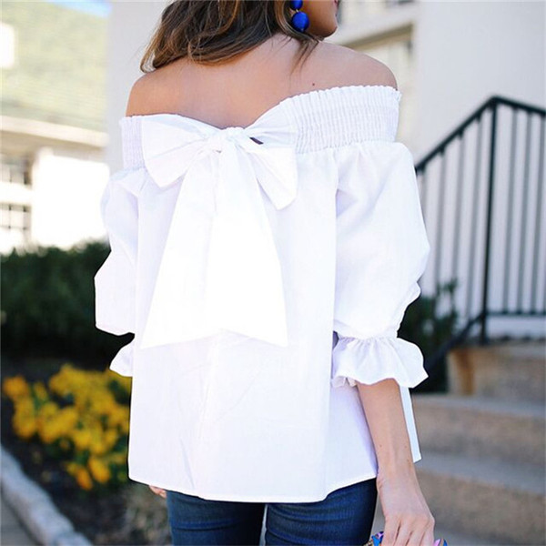 Модерна дамска блуза с паднали ръкави и панделка в четири цвята