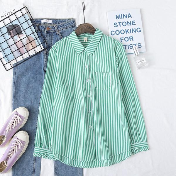 Нов модел раирана дамска риза в син,зелен и червен цвят