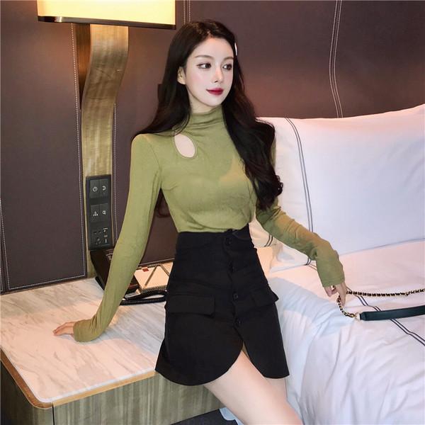 Дамска вталена блуза с висока яка с дълъг ръкав в три цвята