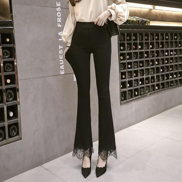 Γυναικεία casual παντελόνια σε μαύρο χρώμα με δαντέλα