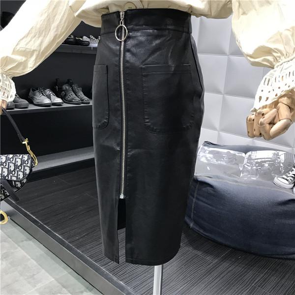 Μακρύ γυναικεία φούστα με φερμουάρ σε μαύρο χρώμα
