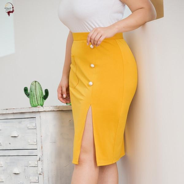 Κομψή κίτρινη γυναικεία φούστα με ψηλή μέση