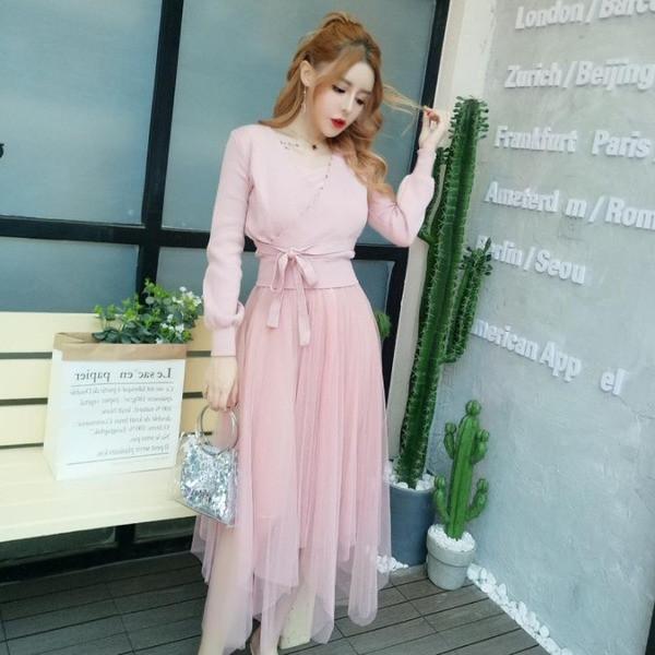 Γυναικείο σετ ζακέτας και φόρεμα τούλι - τρία χρώματα