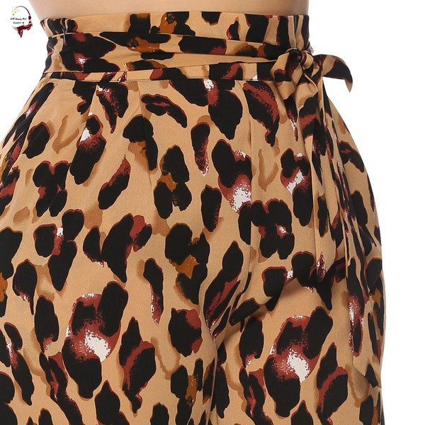 Μοντέρνα γυναικεία παντελόνια με υψηλή μέση και ζωικό σχεδιασμό