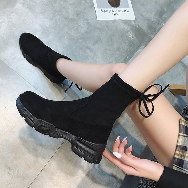 Καθημερινές γυναικείες μπότες με ίσια  σόλα από σουέτ