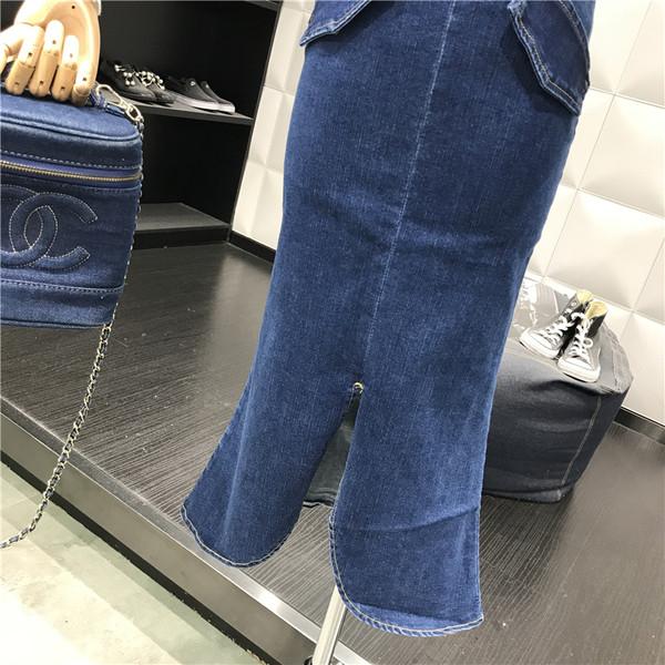 Νέο μοντέλο γυναικεία τζιν φούστα με υψηλή μέση και σχισμή