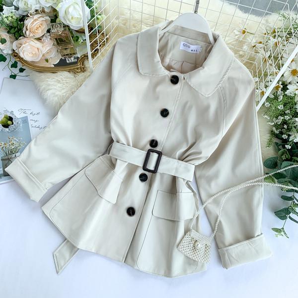 Γυναικείο μπουφάν για το φθινόπωρο με κουμπιά και ζώνη σε διάφορα χρώματα