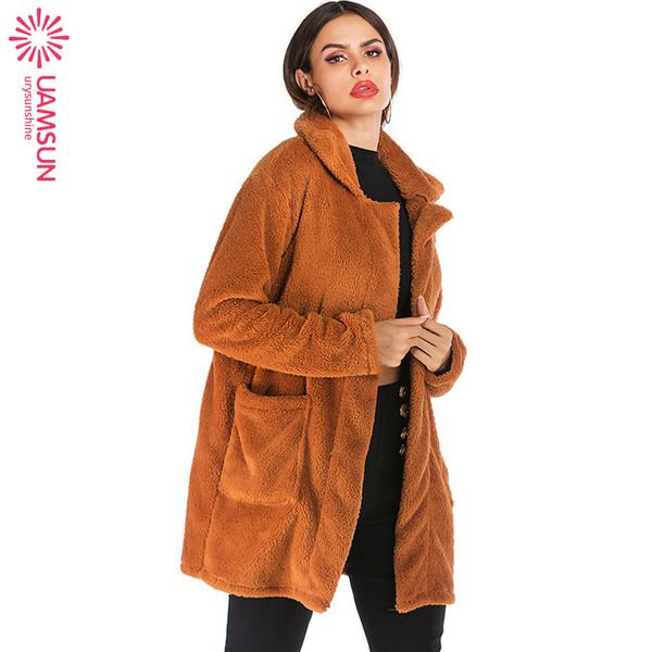 Μοντέρνο μακρύ  γυναικείο μπουφάν  με τσέπη και φερμουάρ