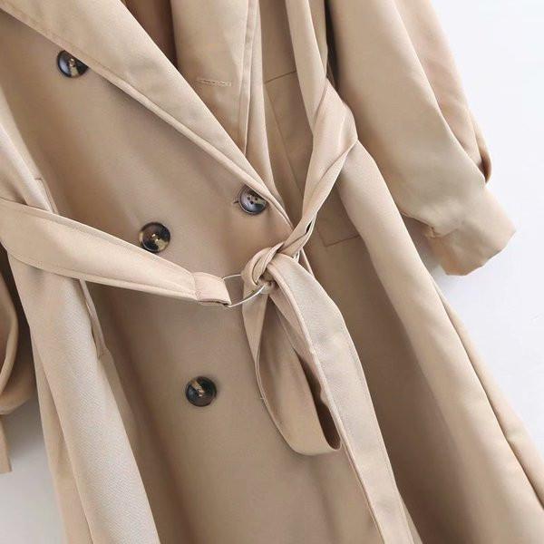 Дамско есенно палто с шпиц деколте и колан на талията в бежов,син и червен цвят