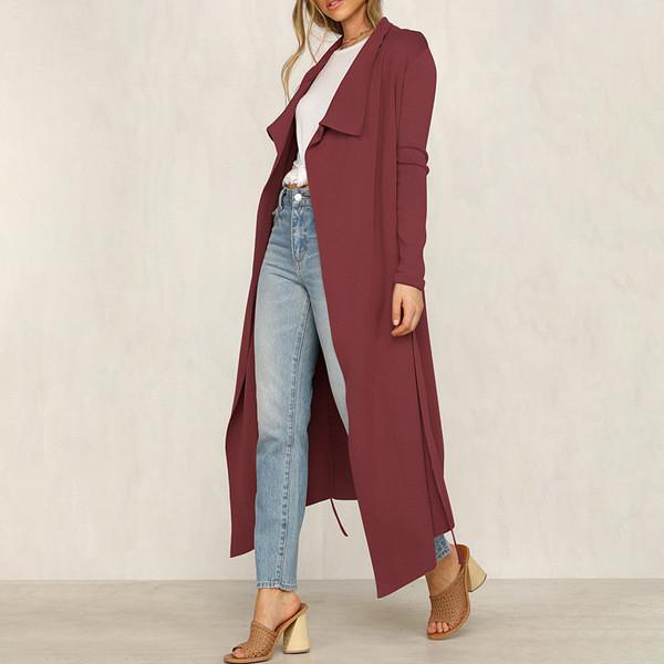 Дамско дълго палто с колан в различни цветове