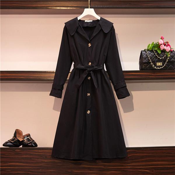 Μακρύ γυναικείο  φθινοπωρινό μπουφάν  σε μαύρο και μπεζ χρώμα - μεγέθη μέχρι μεγέθη 4XL