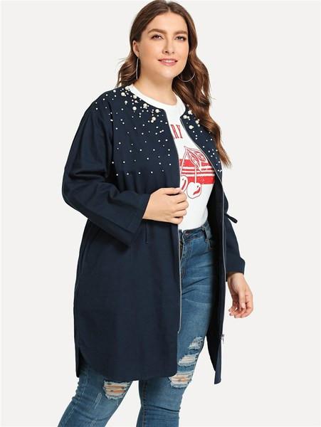 Μοντέρνο γυναικείο φθινοπωρινό μπουφάν με φερμουάρ και πέρλες σε μπλε χρώμα