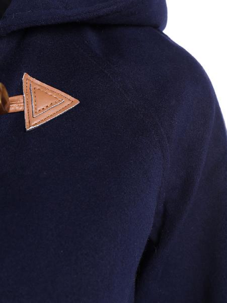 Модерно дамско дълго палто с качулка и копчета в син цвят