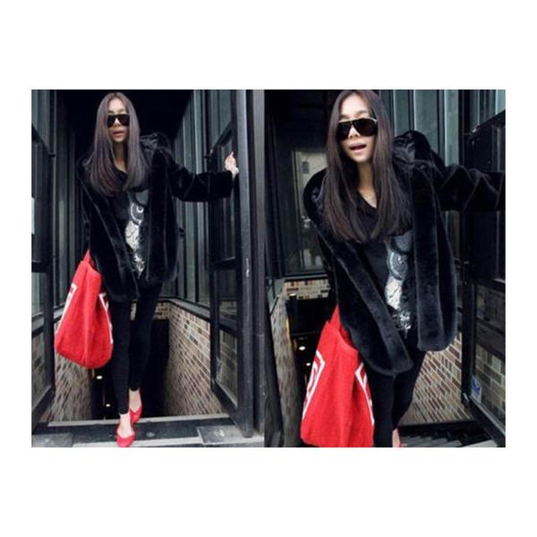 Модерно дамско дълго палто с качулка в черен цвят