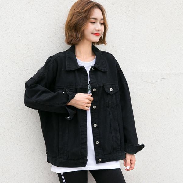 Γυναικείο φαρδύ σχέδιο γυναικείο μπουφάν τζιν σε μαύρο χρώμα