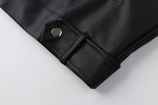Νέο μοντέλο  μοντέρνο γυναικείο μπουφάν από οικολογικό δέρμα σε μαύρο χρώμα
