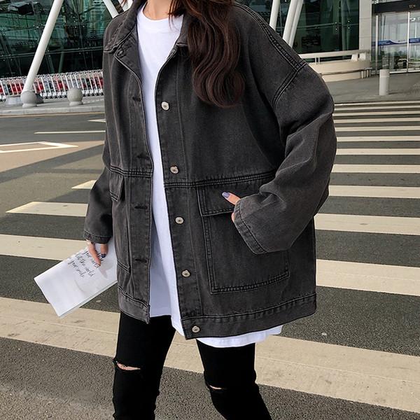 Γυναικείο μπουφάν με τσέπες σε μπλε και μαύρο χρώμα