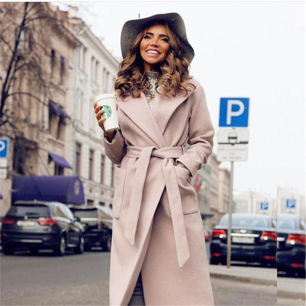 Модерно дамско дълго палто с връзки и джоб в два цвята