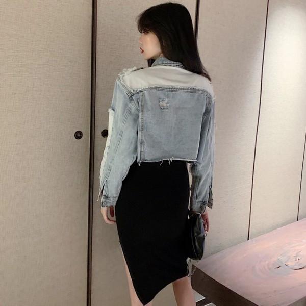 Γυναικείο  κορυφαίο μπουφάνσε μπλε χρώμαι - κοντό  μοντέλο