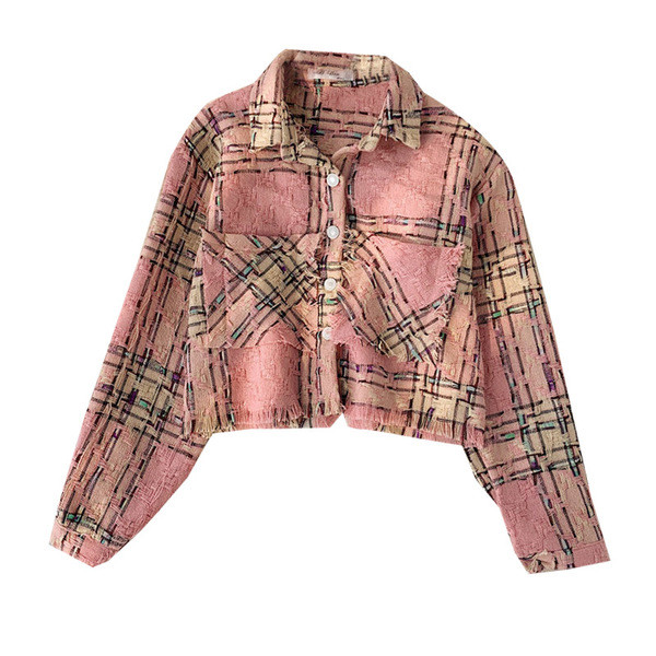 Casual γυναικείο μπουφάν για το φθινόπωρο με κουμπιά και τσέπη σε ροζ χρώμα