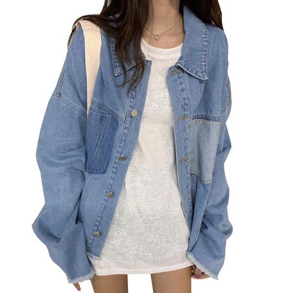 Γυναικείες casual τζιν μπουφάν με μπλε χρώμα