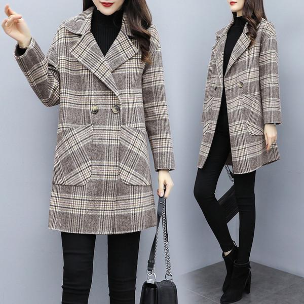 Карирано дамско палто с джобове и размери до 4XL