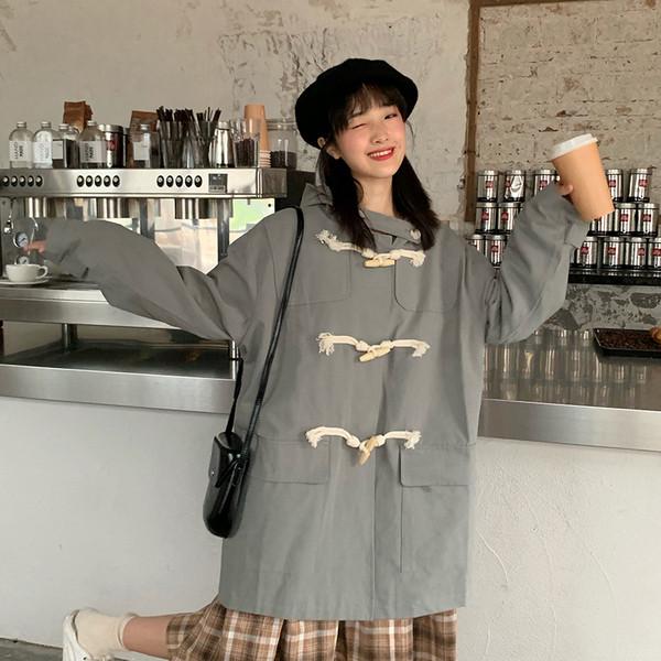 Μοντέρνο γυναικείο μακρύ μπουφάν με κουκούλα σε δύο χρώματα