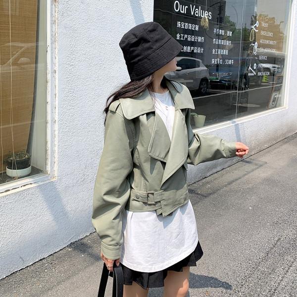 Νέο γυναικείο έκο δερμάτινο μπουφάν σε δύο χρώματα