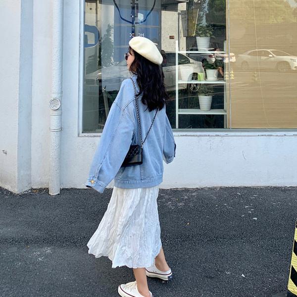 Κορυφαία μοντέρνα μπλούζα γυναικεία - φαρδύ σχέδιο σε μπλε χρώμα