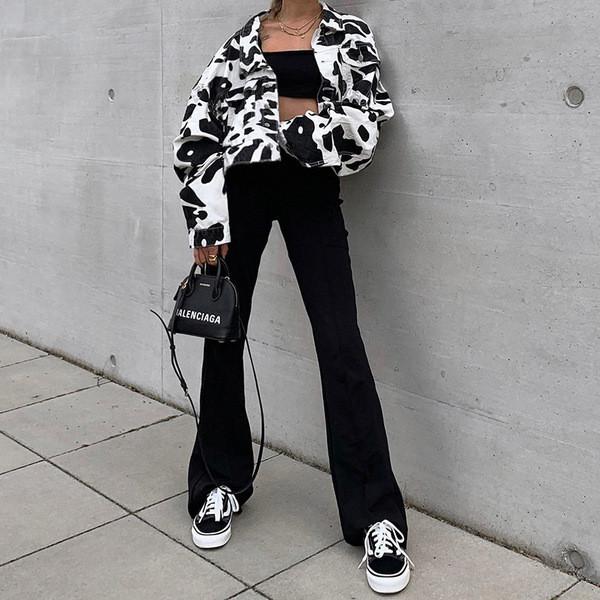 Μοντέρνο γυναικείο μπουφάν φθινοπωρινό με μακρύ μανίκι με ζωικό τύπωμα