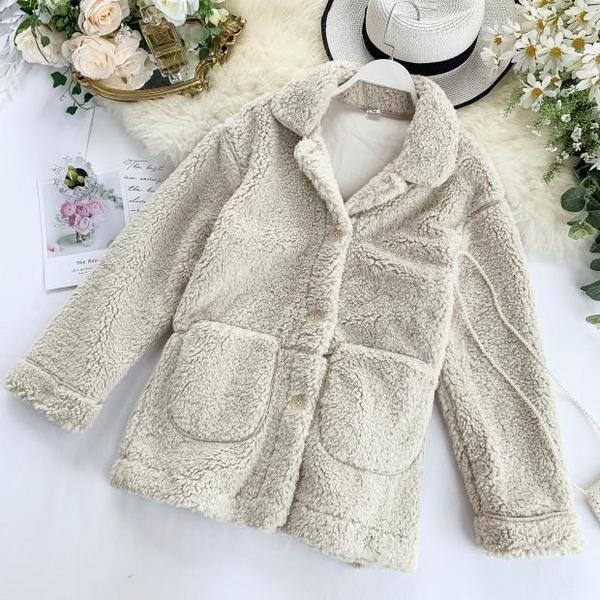 Дамско ежедневно пухено палто с копчета и джоб в няколко цвята