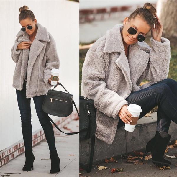 Модерно дамско пухено палто в три цвята