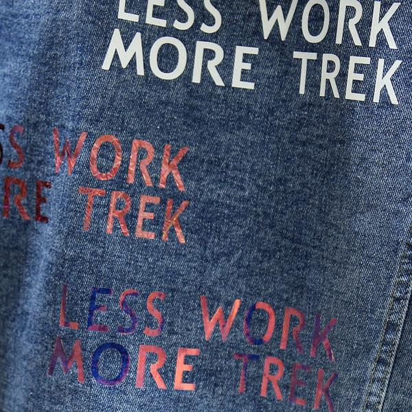Casual μπουφάν τζιν με αφαιρούμενη κουκούλα και γράμματα σε δύο χρώματα