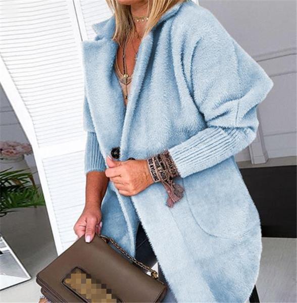 Модерно дамско палто с копче и джоб в четири цвята