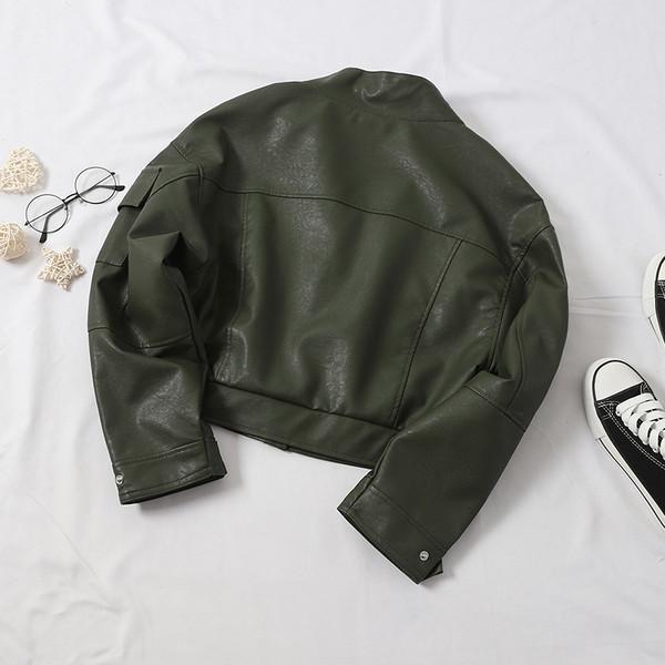 Μοντέρνο οικολογικό δερμάτινο μπουφάν γυναικείο σε μαύρο, πράσινο και μπεζ χρώμα